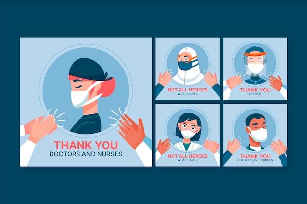 Colección de publicaciones de instagram de atención médica