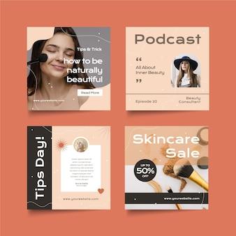 Colección de publicaciones de instagram de belleza de diseño plano