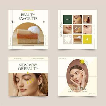Colección de publicaciones de instagram de belleza plana