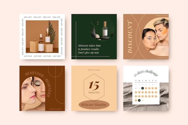 Colección de publicaciones de instagram de belleza plana vector gratuito