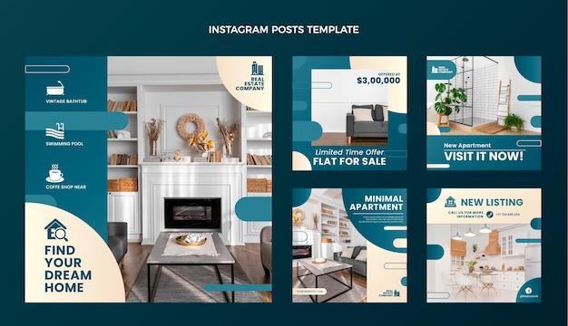 Colección de publicaciones de instagram de bienes raíces degradado