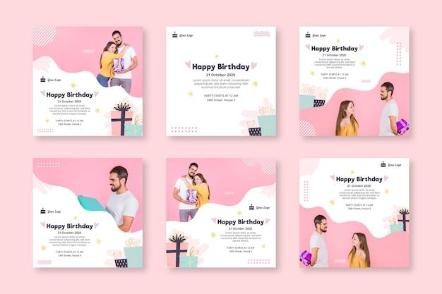 Colección de publicaciones de instagram para celebración de cumpleaños