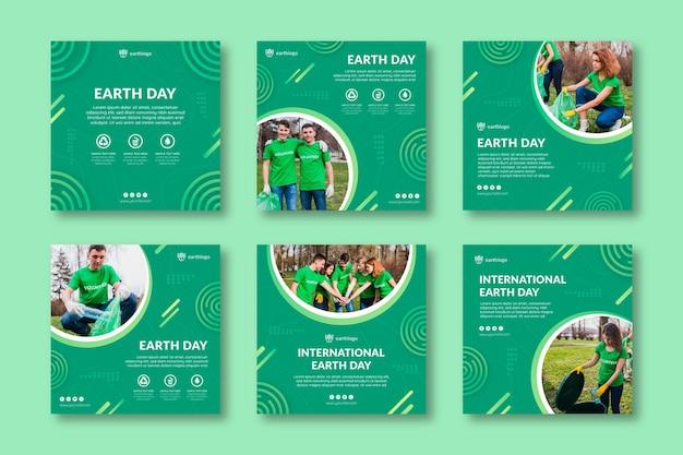 Colección de publicaciones de instagram para la celebración del día de la madre tierra