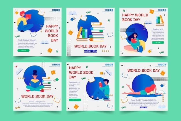 Colección de publicaciones de instagram para la celebración del día mundial del libro