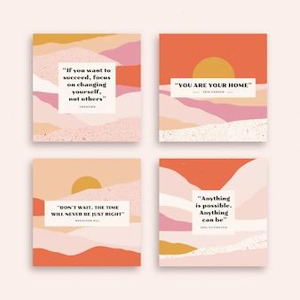 Colección de publicaciones de instagram de citas inspiradoras dibujadas a mano