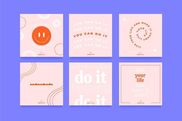Colección de publicaciones de instagram de citas inspiradoras planas