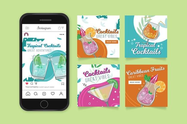Colección de publicaciones de instagram de cócteles tropicales