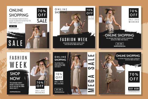 Colección de publicaciones de instagram de compras en línea