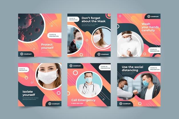 Colección de publicaciones de instagram de coronavirus