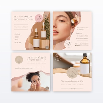 Colección de publicaciones de instagram cosméticas