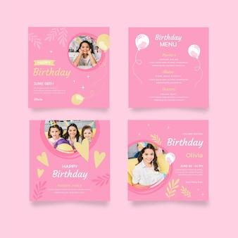 Colección de publicaciones de instagram de cumpleaños