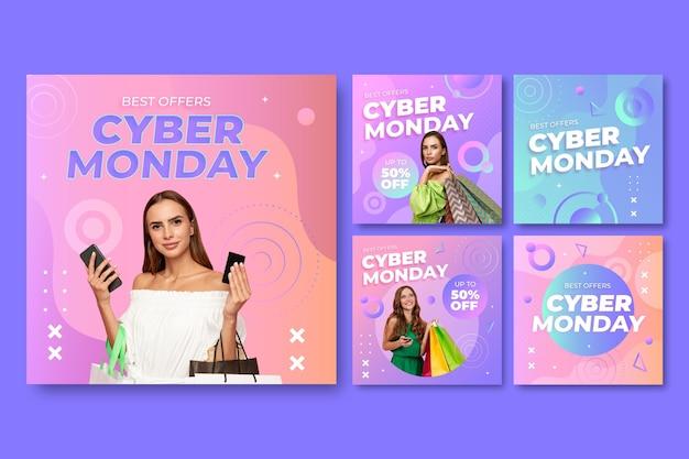 Colección de publicaciones de instagram de cyber monday gradiente