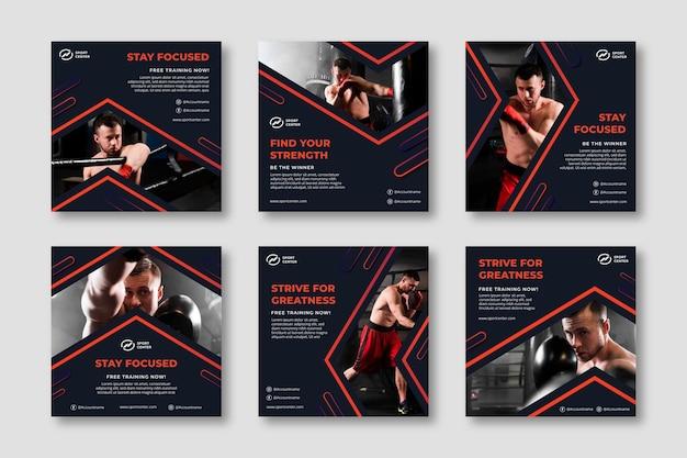 Colección de publicaciones de instagram de deporte degradado con boxeador masculino