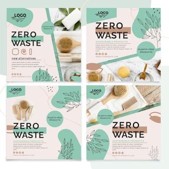 Colección de publicaciones de instagram de desperdicio cero