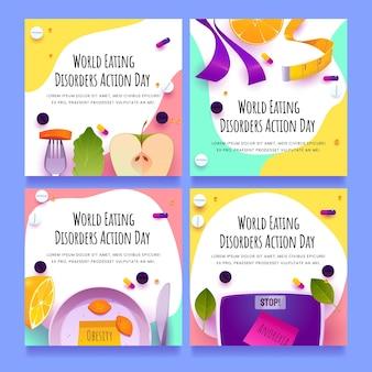 Colección de publicaciones de instagram del día de acción de los trastornos alimentarios del mundo de dibujos animados