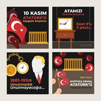 Colección de publicaciones de instagram del día conmemorativo de ataturk vector gratuito