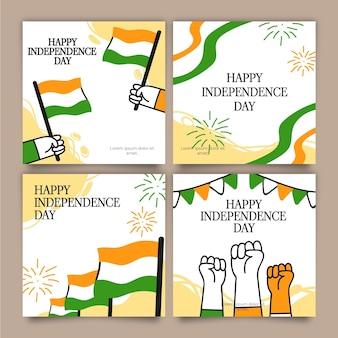 Colección de publicaciones de instagram del día de la independencia de la india