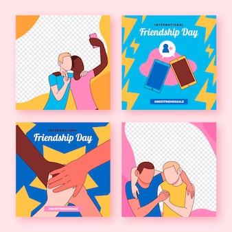 Colección de publicaciones de instagram del día internacional de la amistad dibujadas a mano