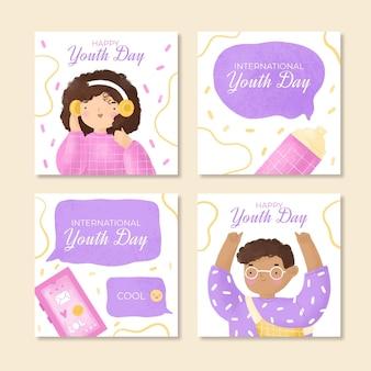 Colección de publicaciones de instagram del día internacional de la juventud en acuarela pintada a mano