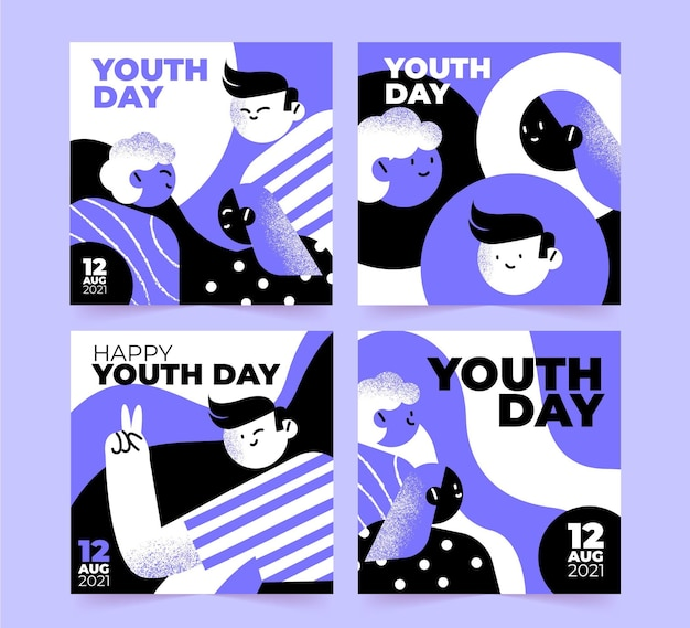 Colección de publicaciones de instagram del día internacional de la juventud