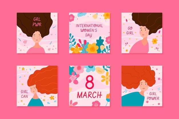 Colección de publicaciones de instagram del día internacional de la mujer dibujadas a mano