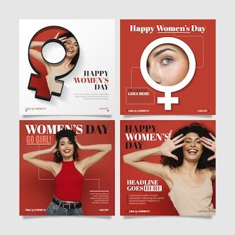 Colección de publicaciones de instagram del día internacional de la mujer