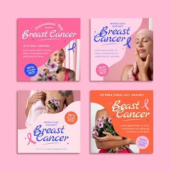 Colección de publicaciones de instagram del día internacional plano dibujado a mano contra el cáncer de mama