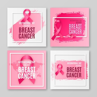 Colección de publicaciones de instagram del día internacional realista contra el cáncer de mama