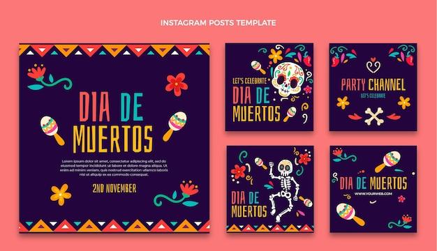 Colección de publicaciones de instagram de dia de muertos dibujados a mano