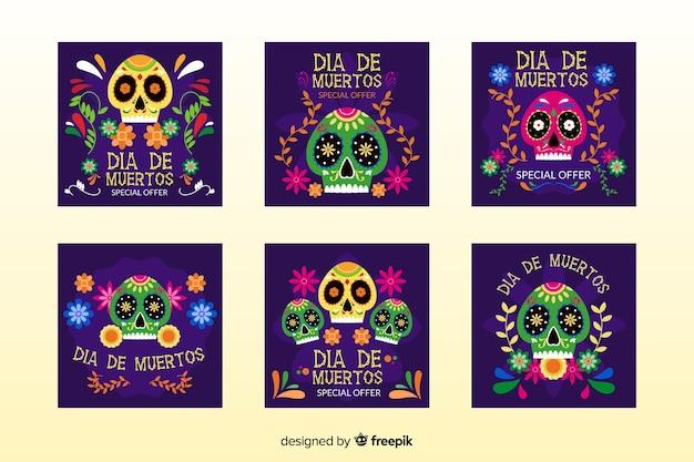 Colección de publicaciones de instagram del día de los muertos