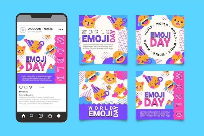 Colección de publicaciones de instagram del día mundial del emoji plano