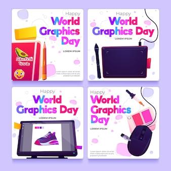 Colección de publicaciones de instagram del día mundial de los gráficos planos