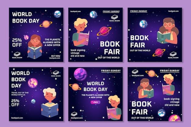 Colección de publicaciones de instagram del día mundial del libro