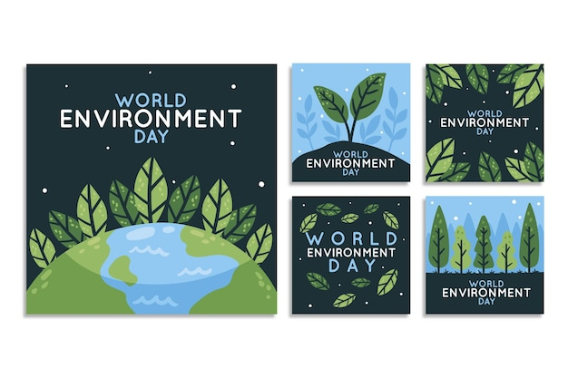 Colección de publicaciones de instagram del día mundial del medio ambiente dibujadas a mano