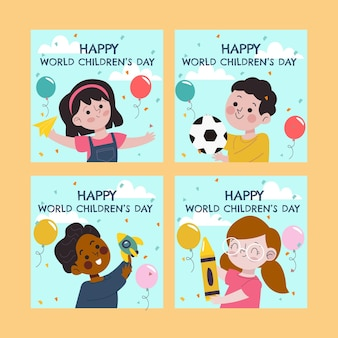 Colección de publicaciones de instagram del día mundial de los niños dibujados a mano