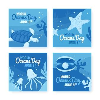 Colección de publicaciones de instagram del día mundial de los océanos dibujados a mano