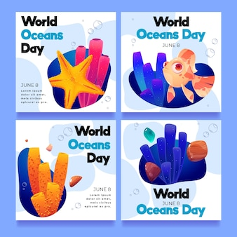 Colección de publicaciones de instagram del día mundial de los océanos de dibujos animados