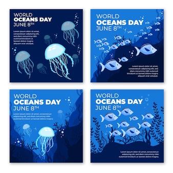 Colección de publicaciones de instagram del día mundial de los océanos