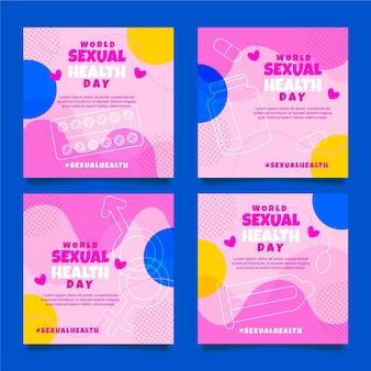 Colección de publicaciones de instagram del día mundial de la salud sexual plana