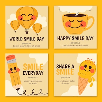 Colección de publicaciones de instagram del día mundial de la sonrisa dibujada a mano