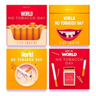 Colección de publicaciones de instagram del día mundial sin tabaco realista