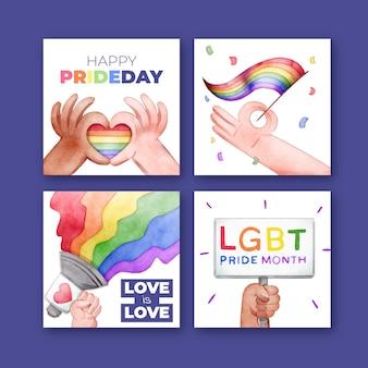 Colección de publicaciones de instagram del día del orgullo de acuarela pintada a mano