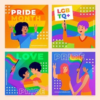 Colección de publicaciones de instagram del día del orgullo degradado