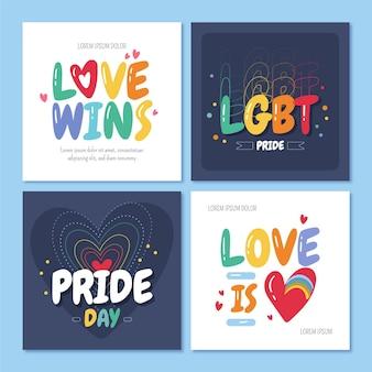 Colección de publicaciones de instagram del día del orgullo dibujadas a mano