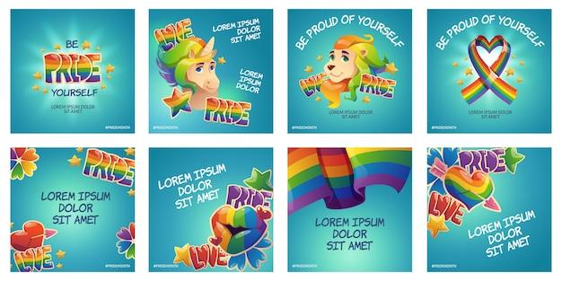 Colección de publicaciones de instagram del día del orgullo de dibujos animados