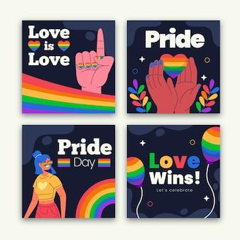 Colección de publicaciones de instagram del día del orgullo plano orgánico