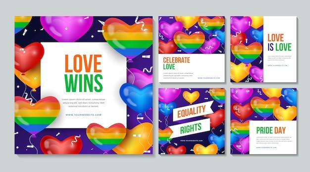 Colección de publicaciones de instagram del día del orgullo realista