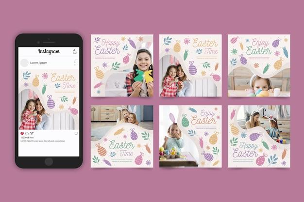 Colección de publicaciones de instagram del día de pascua con fotos