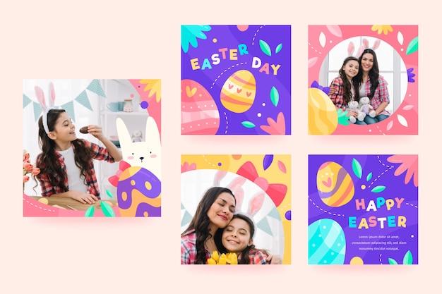 Colección de publicaciones de instagram del día de pascua
