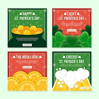 Colección de publicaciones de instagram del día de san patricio con cerveza y monedas